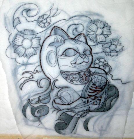 lucky cat sketch buscar con google tattoo pinterest tattoo maneki neko and tatoo. Black Bedroom Furniture Sets. Home Design Ideas