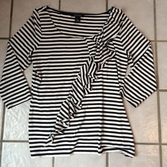 White House Black Market top SZ M Black/ white with black stripes outlined in silver. Gives a little bit of sparkle but not too much. White House Black Market Tops Blouses