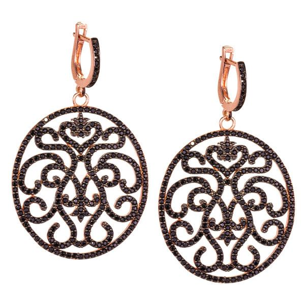 JJ Caprices - Black Zircon and Sterling Silver Filigree Earrings by LK Designs