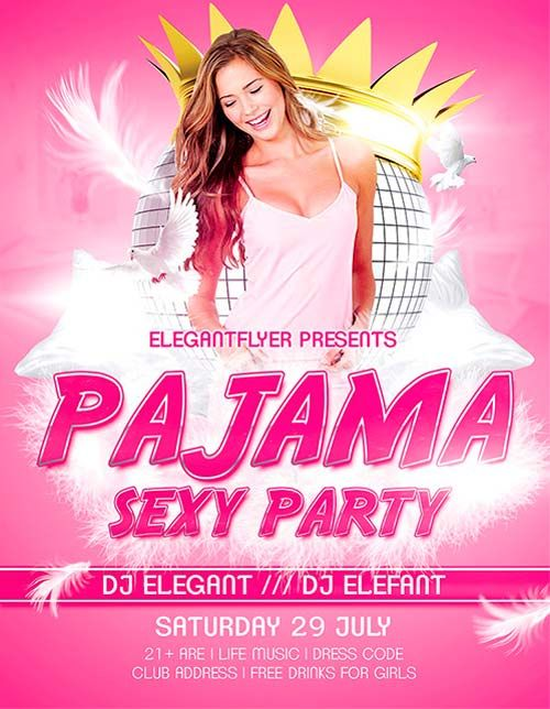 Free Sexy Pajama Party Flyer Template - http\/\/freepsdflyer - party flyer