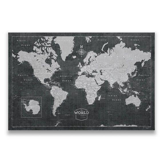 world travel pin board map modern push pin cork canvas best modern slate style