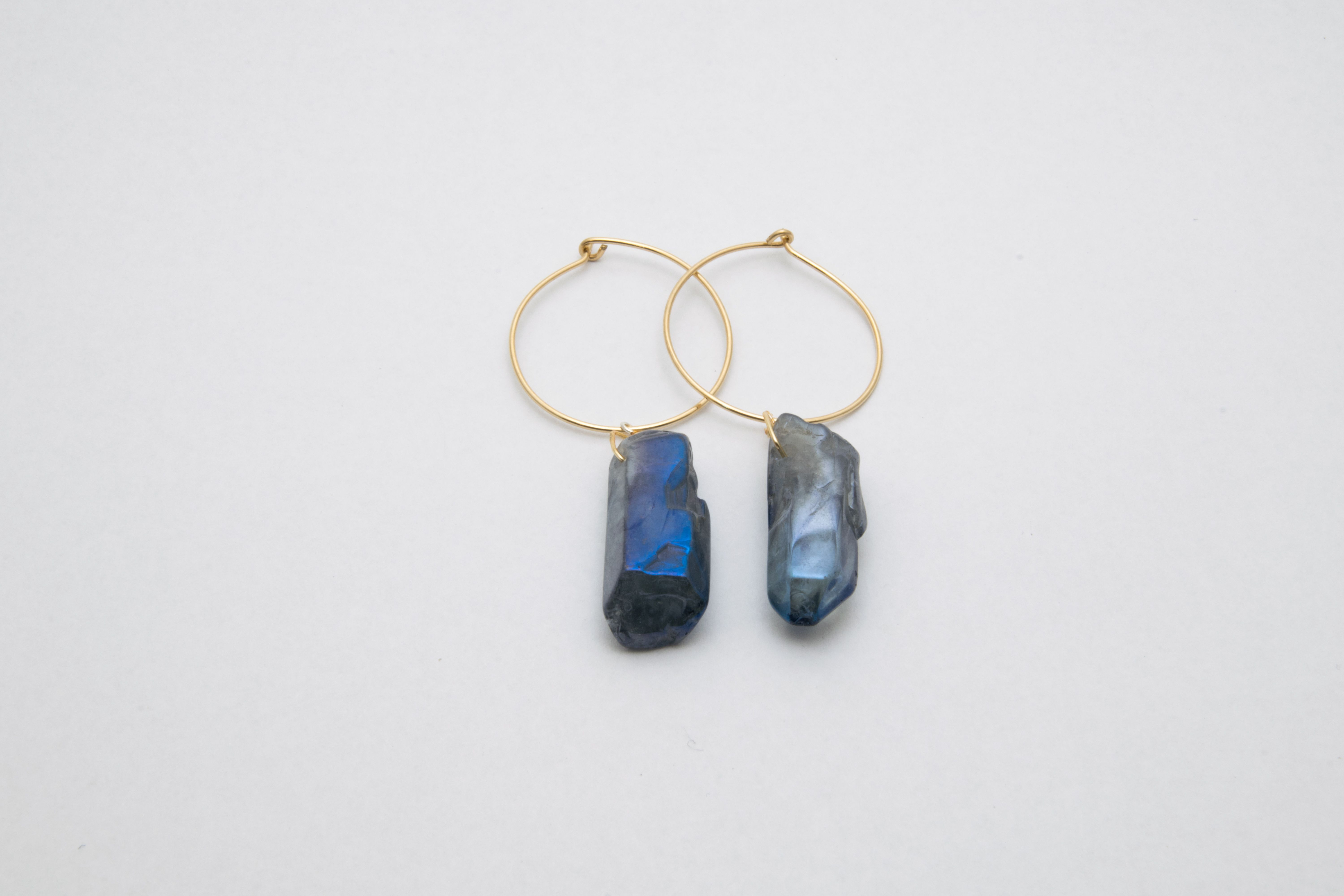 14k Gold Blue Quartz Hoop Earrings Raw Stone Hoops Crystal Point