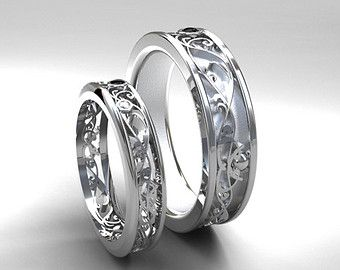 Attractive Filigree Wedding Band Set, White Gold, Black Diamond Wedding Band, Mens Diamond  Ring