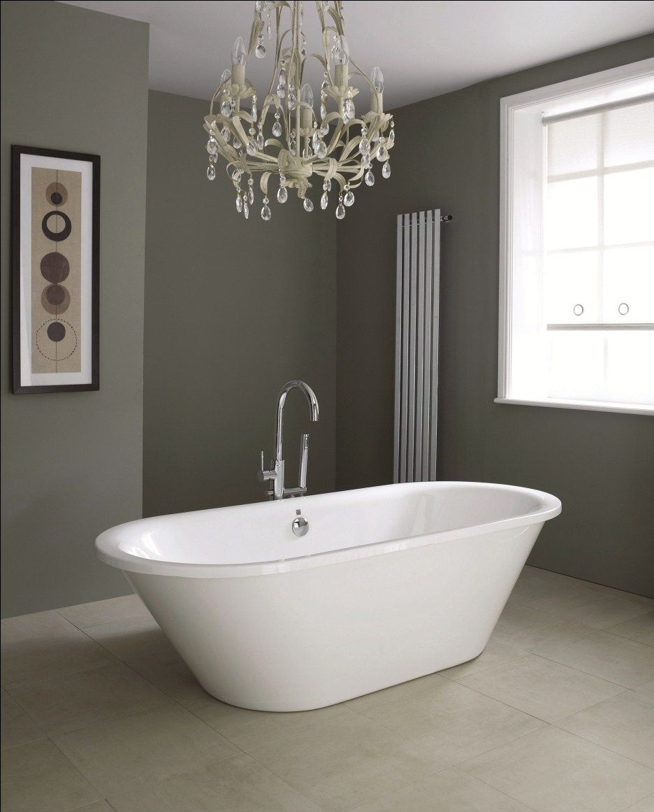 Bathroom dark grey wall paint decoration in modern contemporary bathroom design with chandelier Freestanding bathtub bathroom design