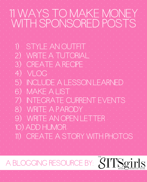 Great tips and ideas to help me make money from sponsored posts