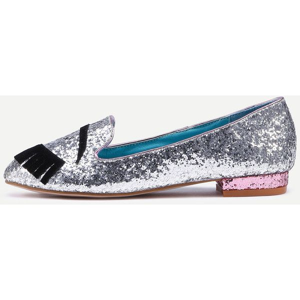 Silver Glittering Eye Almond Toe Flats ($35) ❤ liked on Polyvore featuring shoes, flats, silver sparkly shoes, sparkly flat shoes, embellished flats, silver glitter flats and silver sequin shoes