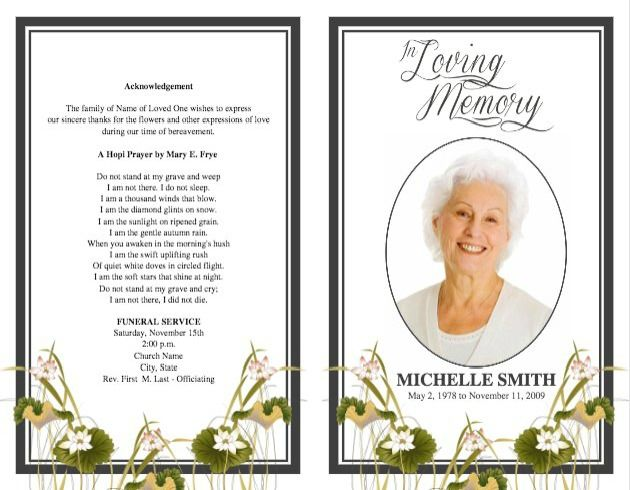 funeral program template 14 back and front covers memorial in