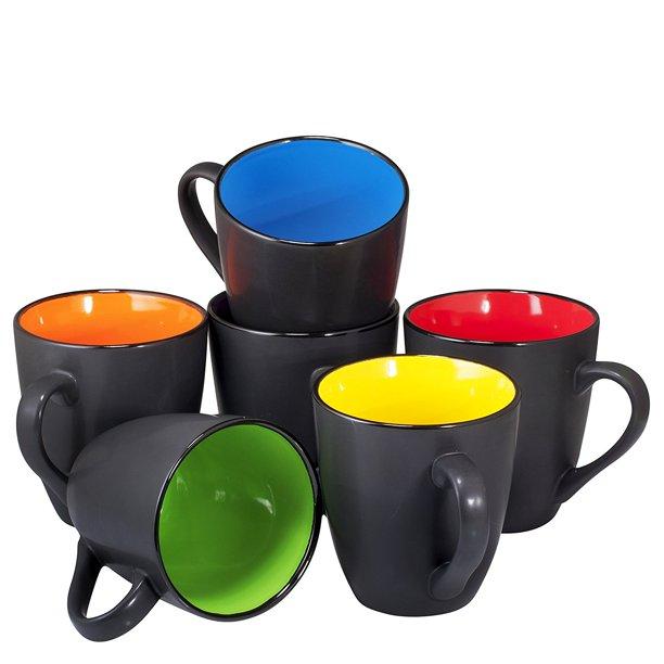 Coffee Mug Set Set Of 6 Large Sized 16 Ounce Ceramic Coffee Mugs Restaurant Coffee Mugs By Bruntmor Black Walmart Com In 2020 Best Coffee Mugs Mugs Set Mugs