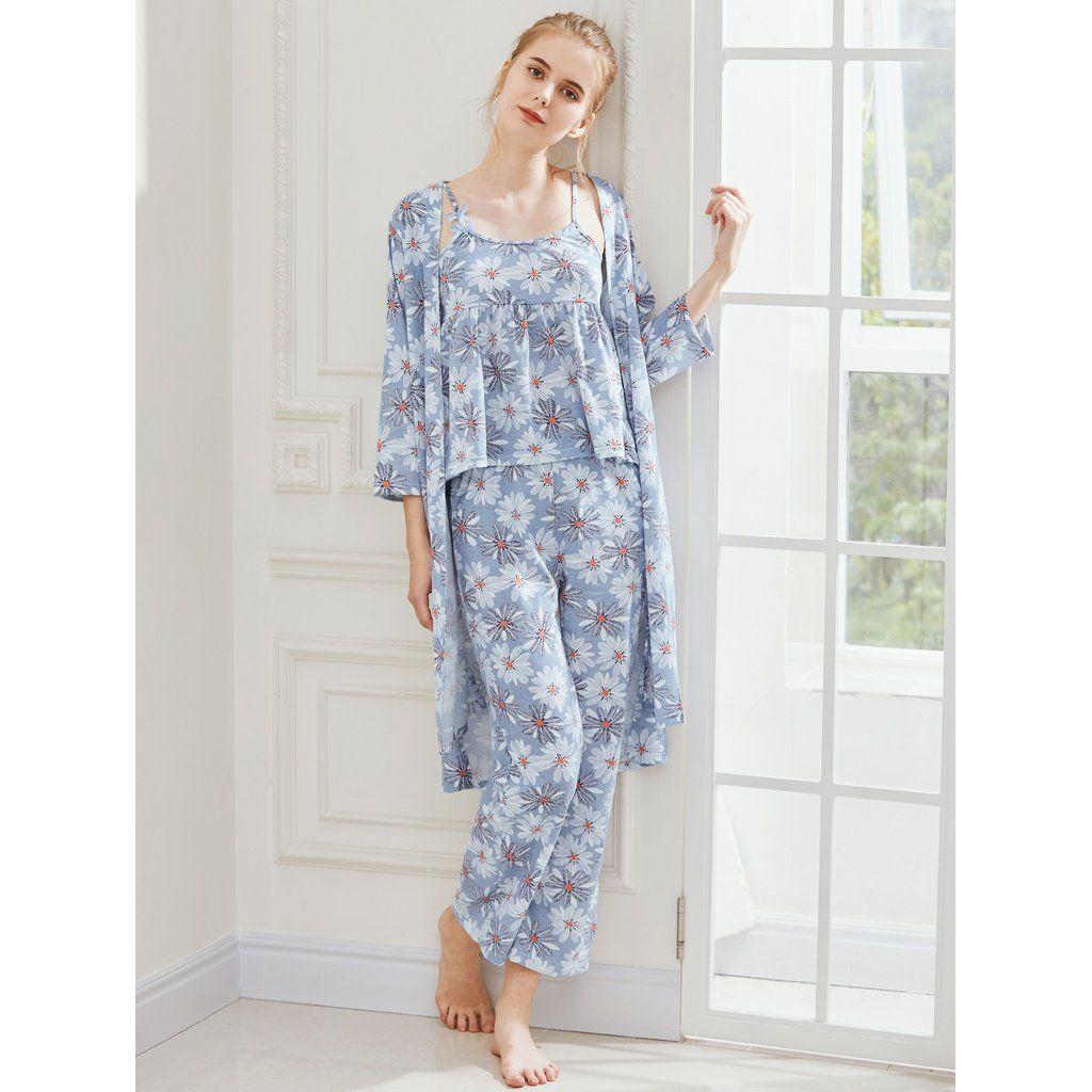 1d2db09952 Daisy Print Cami Pajama Set With Robe in 2018