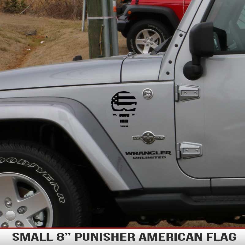 8 Universal Punisher American Flag Alphavinyl Jeep Wrangler