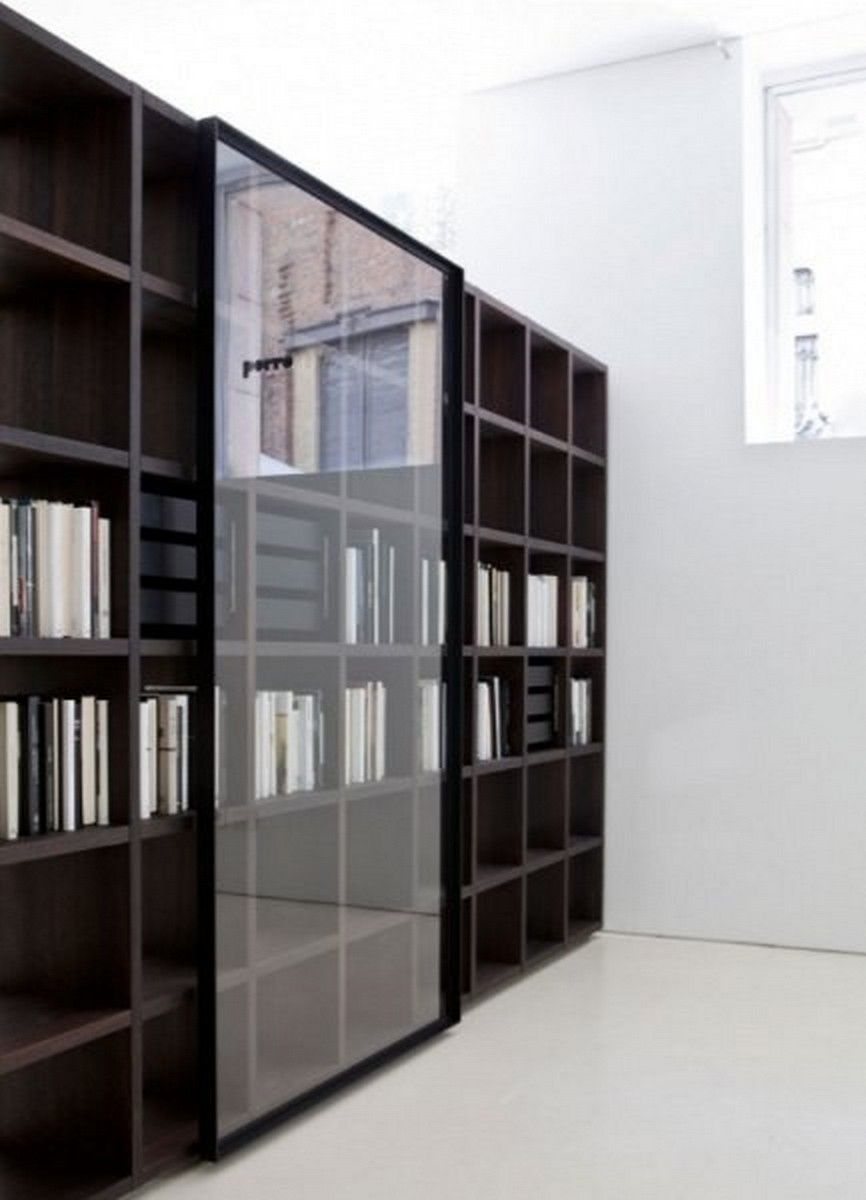 Delicieux Modern Bookcase With Glass Door: Mesmerizing Bookcase Design With New Glass  Sliding Doors