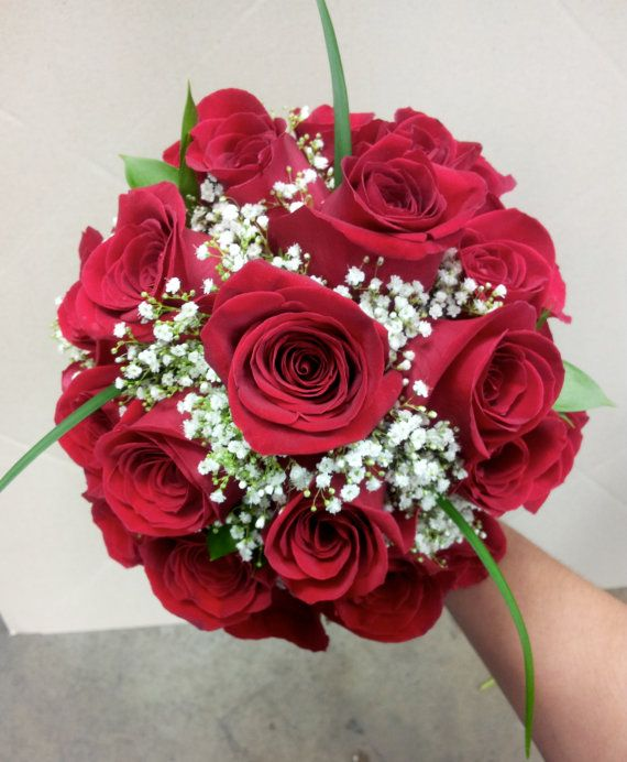 Classical Red Rose Bridal Bouquet