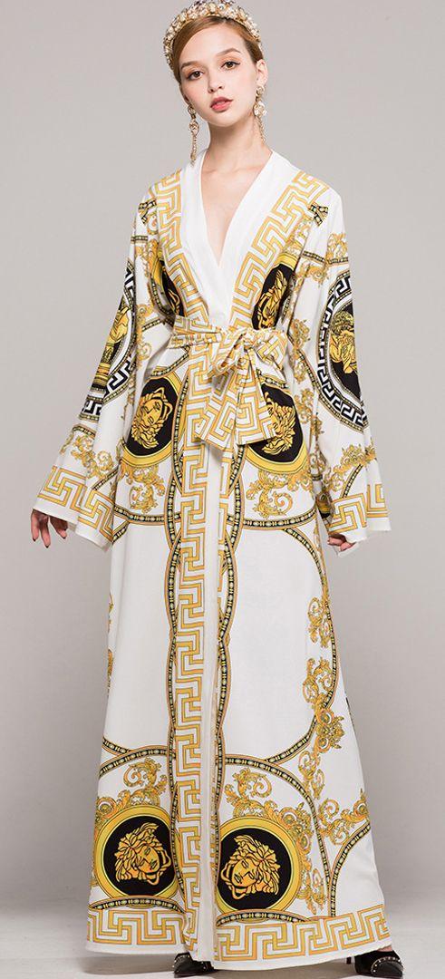 Court Print V-Neck Belted Maxi Dress
