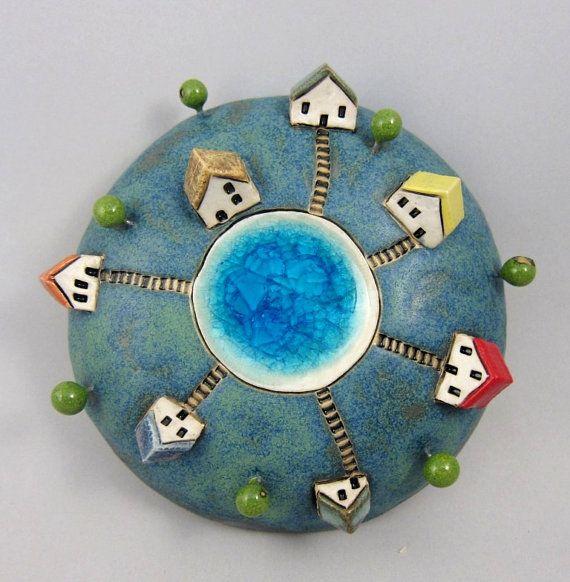 Six...3D Wall Globe in Stoneware