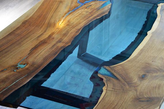 This Is Example Of Modern Live Edge River Dining Table With Bench With  Glowing Turquoise Pigment And Resin. Table Top Contains 1 Cm Thick River  Bluu2026