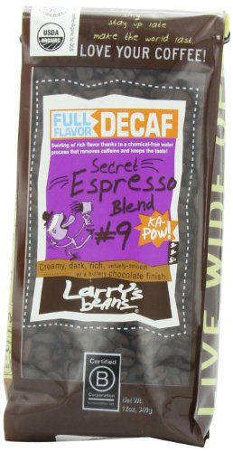 Larry's Beans Fair Trade Organic Coffee, Decaf Espresso, Whole Bean, 12-Ounce Bags (Pack of 3) - http://www.teacoffeestore.com/larrys-beans-fair-trade-organic-coffee-decaf-espresso-whole-bean-12-ounce-bags-pack-of-3/
