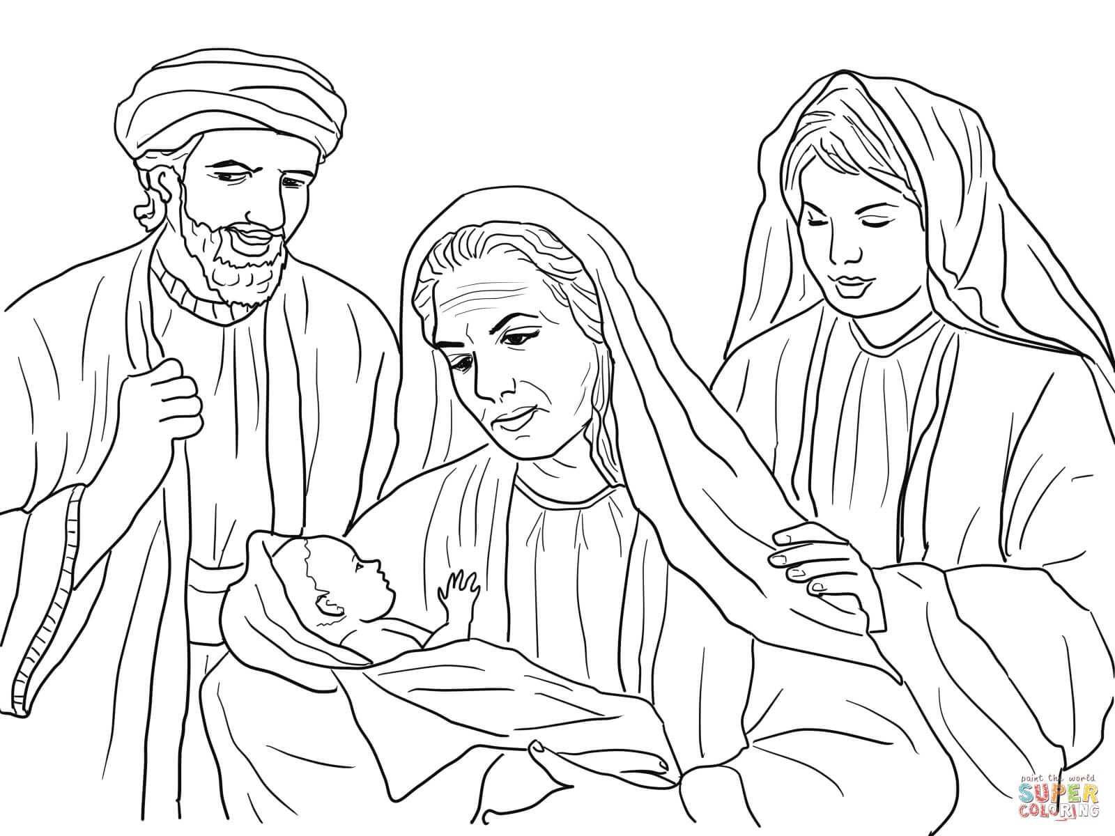 Boaz Naomi Ruth And Baby Obed Coloring Page Free Printable