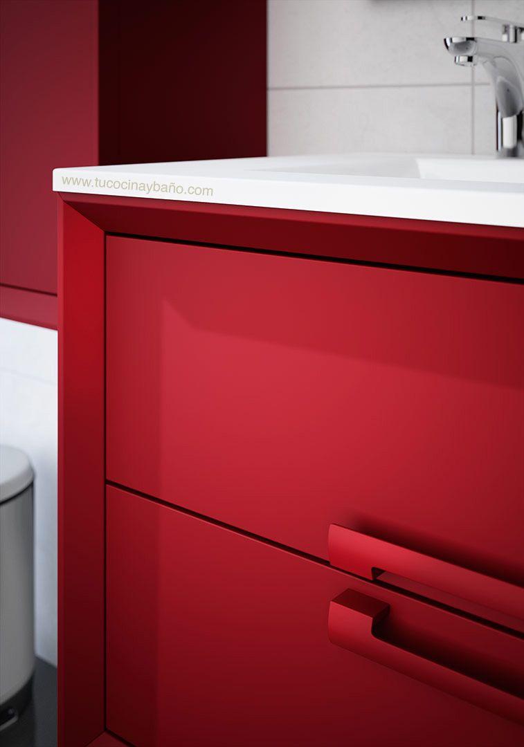 Mueble de ba o rojo satinado deobas muebles de ba o pinterest - Muebles de bano rojos ...