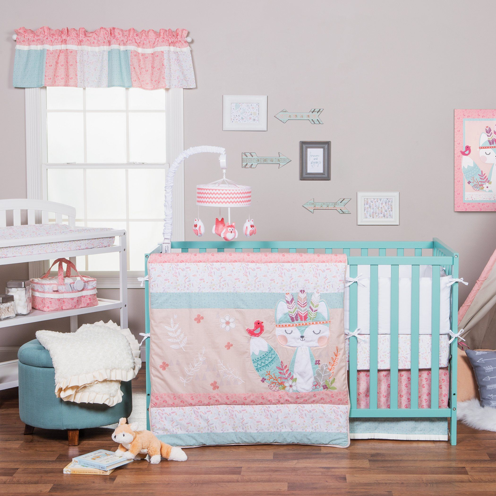 Trend Lab Wild Forever 3 Piece Crib Bedding Set Pinkteal