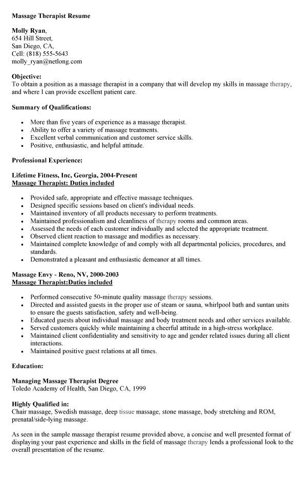 proffesional massage therapist resume template