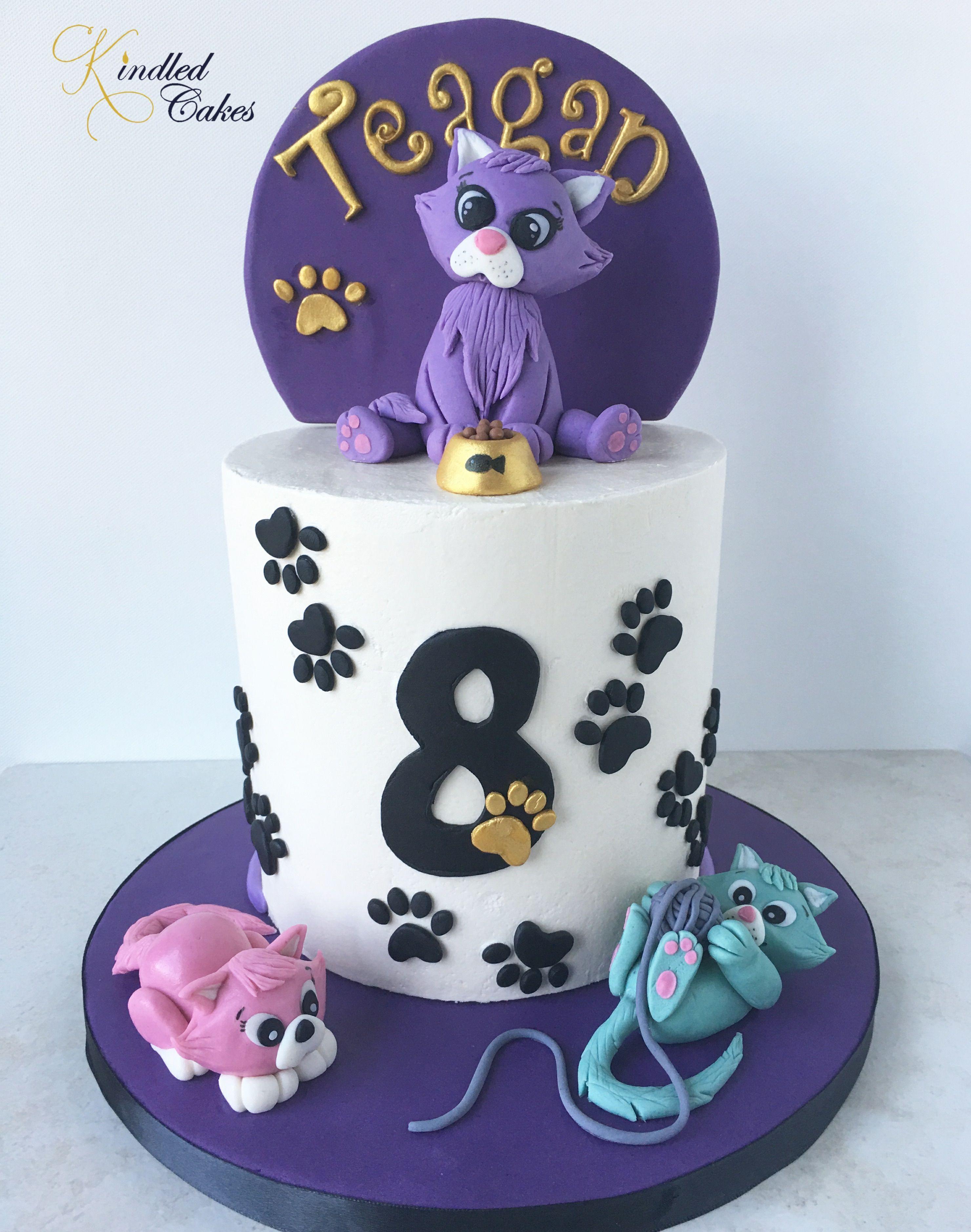 Purple Cat Cake   Cat cake, Cake, Fondant decorations