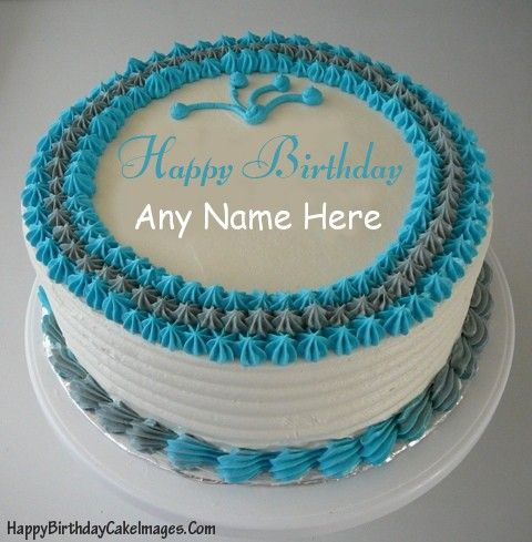Create a Blue Birthday Cake Image with friends name on it then