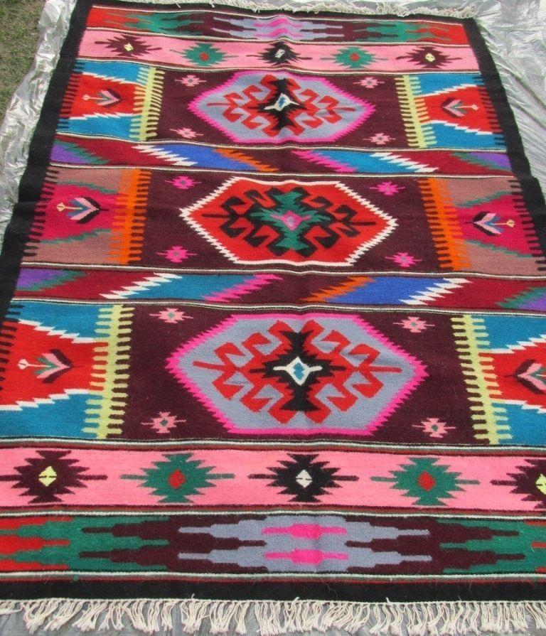 Vintage Handwoven Wool Rug Carpet