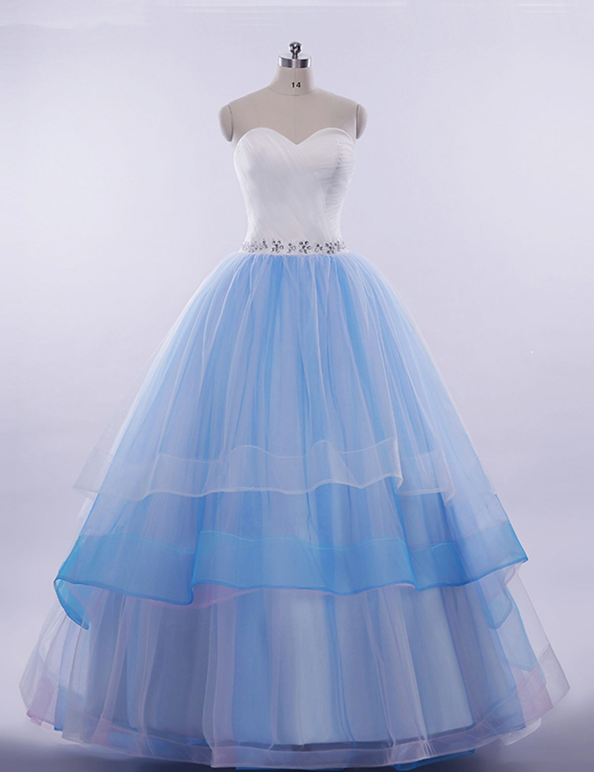 Cute white satin blue tulle prom dress sweetheart prom dress