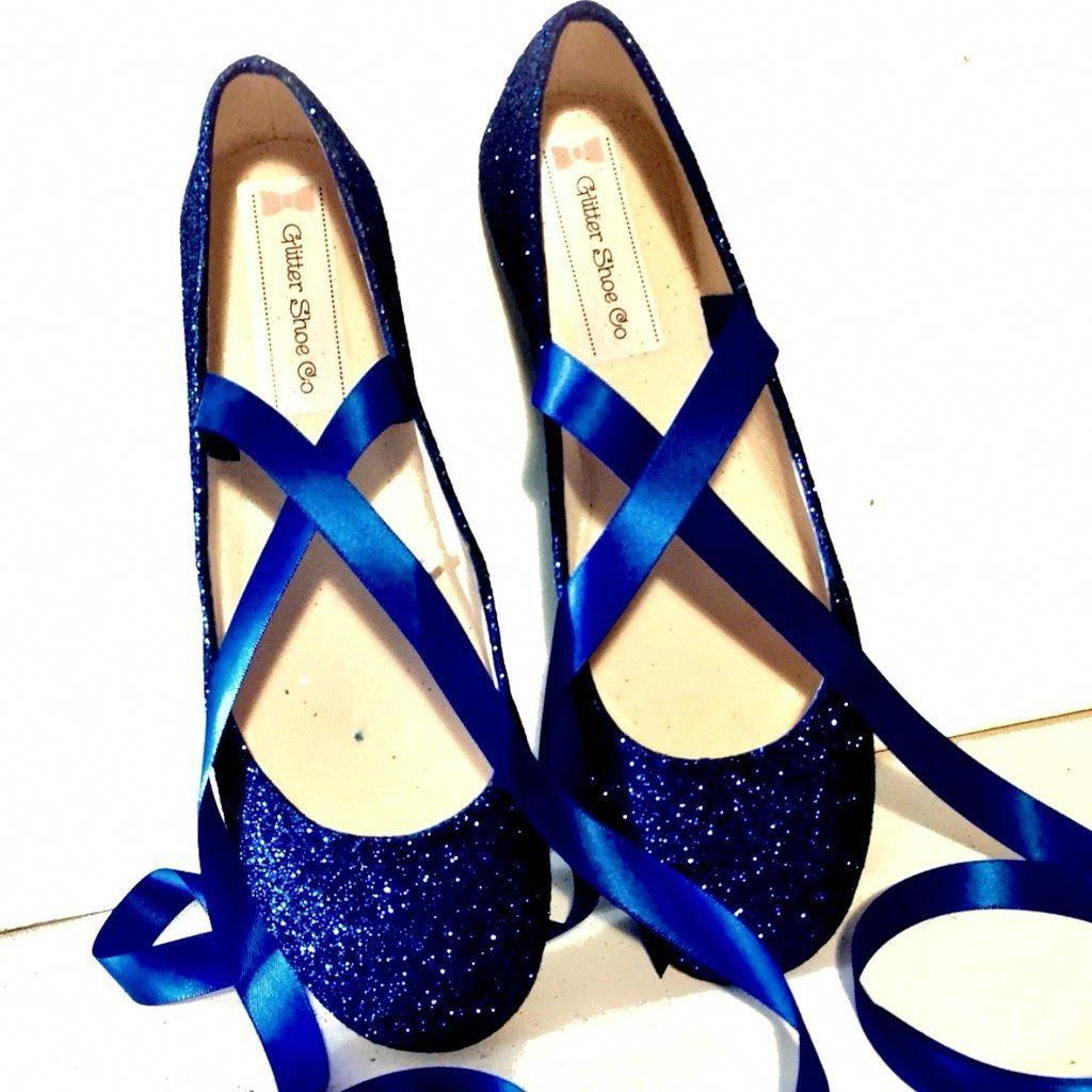 Sparkly Navy Blue Glitter Ballet Flats shoes wedding bride