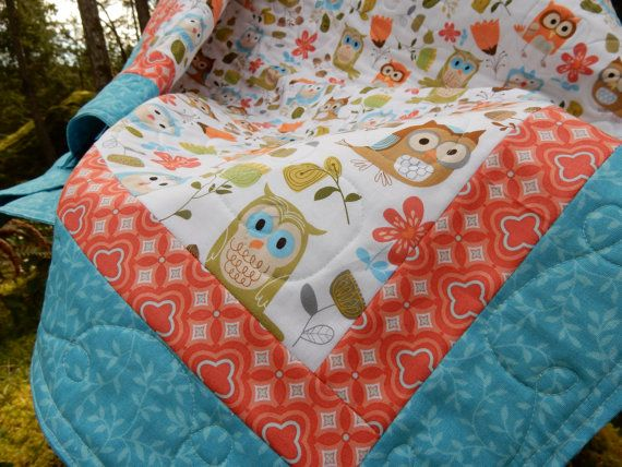 Modern Baby Quilt Baby Quilt Baby Quilts Owl Owl Quilts