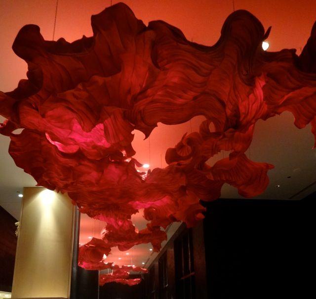 Peter Gentenaar, paper sculpture, Toreador's cape at the top floor restaurant at Four Seasons Hotel, Disney World Resort, Florida