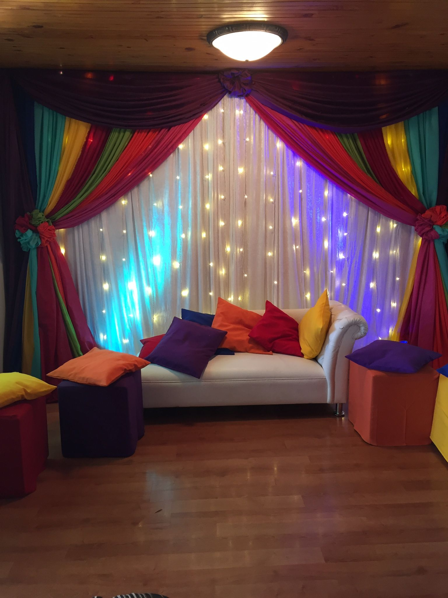 Wedding stage decor ideas  Colourful indoor Mehndi decor u  mehndi night  Pinteu