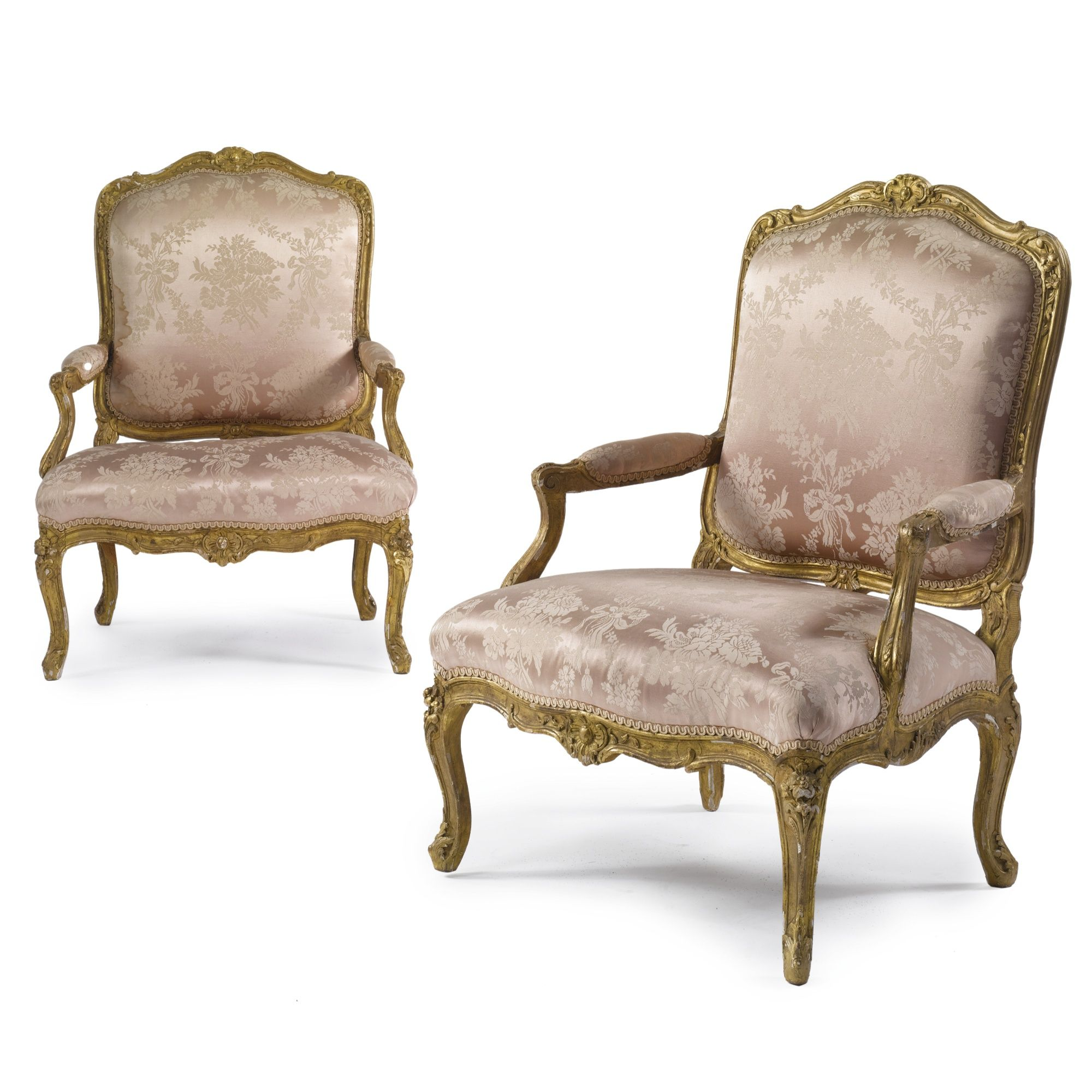 A pair of Louis XV carved giltwood fauteuils à la reine<br>circa 1750 | lot | Sotheby's