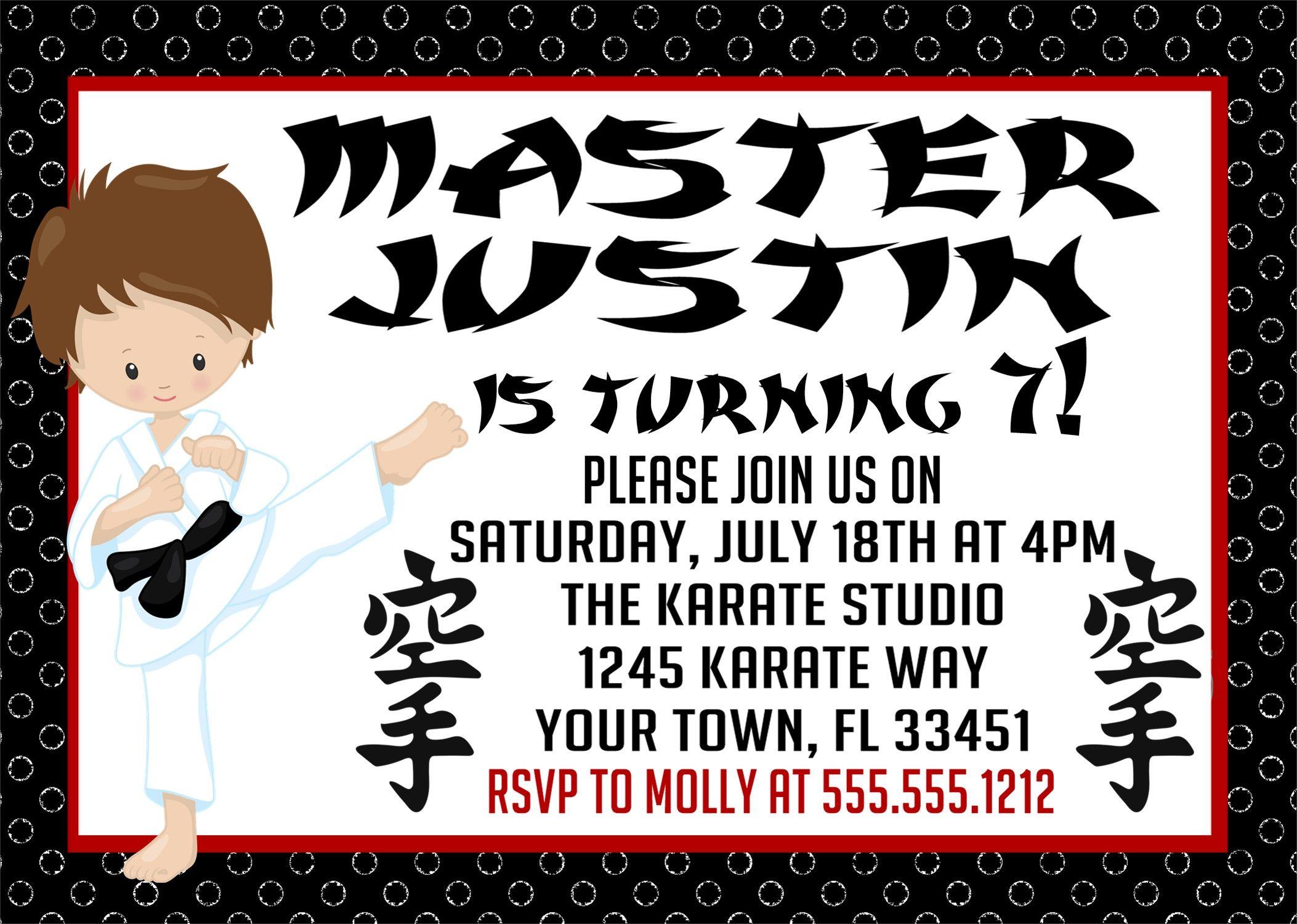 Karate Birthday Party Invitations | Karate birthday, Party ...