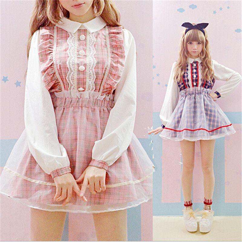 Aliexpress.com : Buy Plaid Lolita kawaii clothing Dress Lace Mesh ...