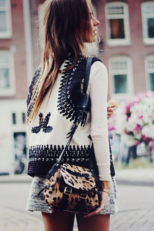 Mixing prints inspiration. Layers: light long sleeve t-shirt with boho chic vest