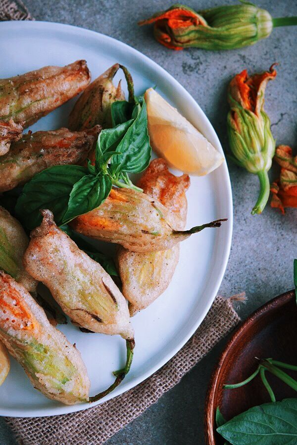 Fried Zucchini Blossoms Stuffed with Basil Ricotta ...