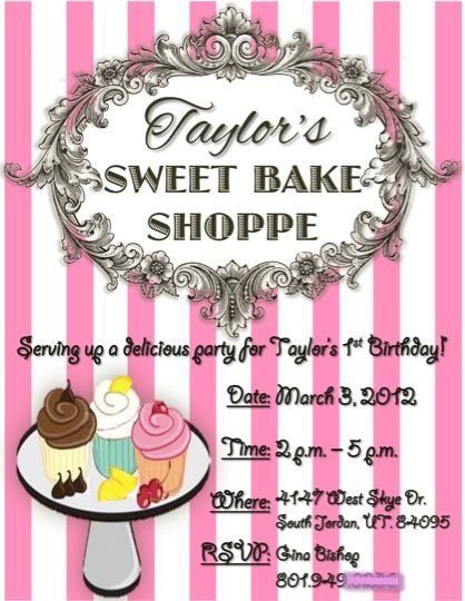 Sweet Bake Shoppe Invitation