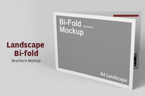 Landscape BiFold Brochure Mockup  Makety A Brory