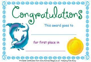 First Place Certificate Free Kid Certificates With Animals Theme  Google Search  Job .