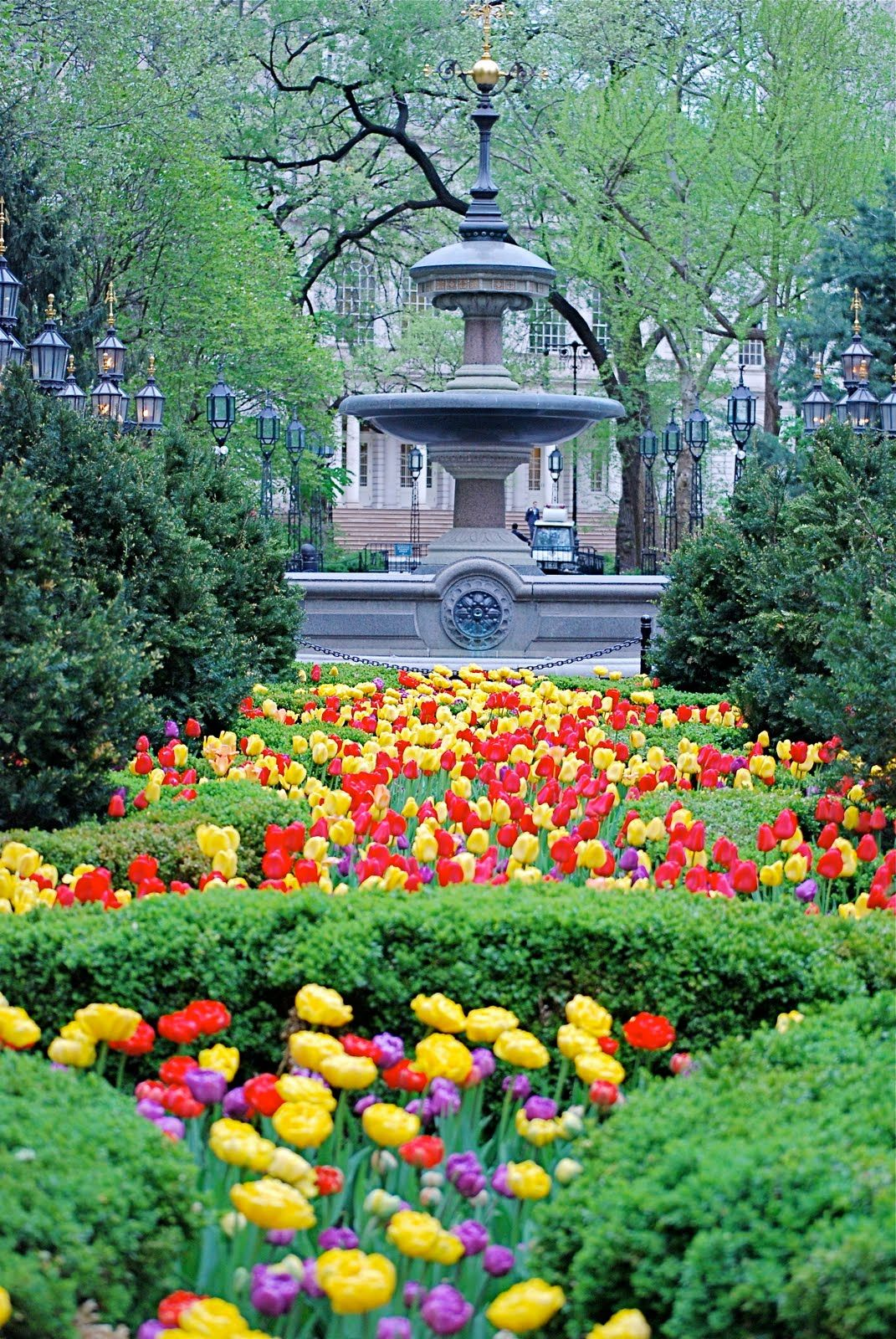 The MOULD FOUNTAIN and Spring Flowers in City Hall Park