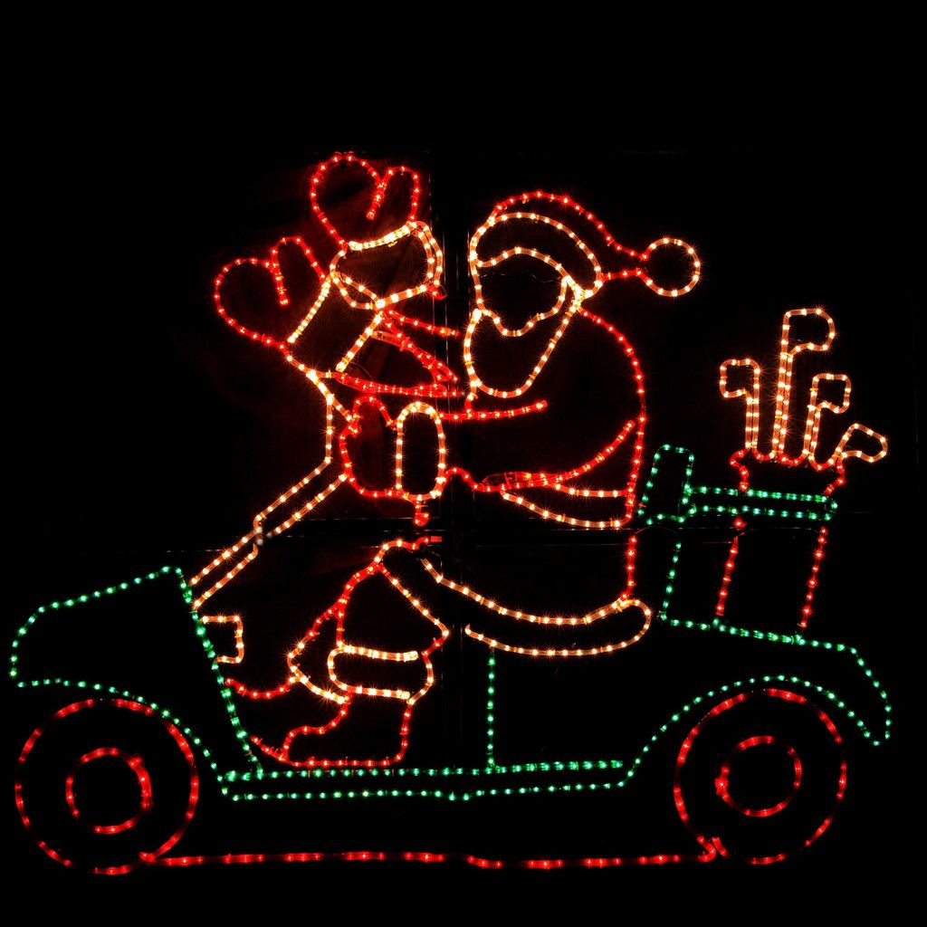 Animated Waving Santa On Golf Cart Christmas Light Outdoor