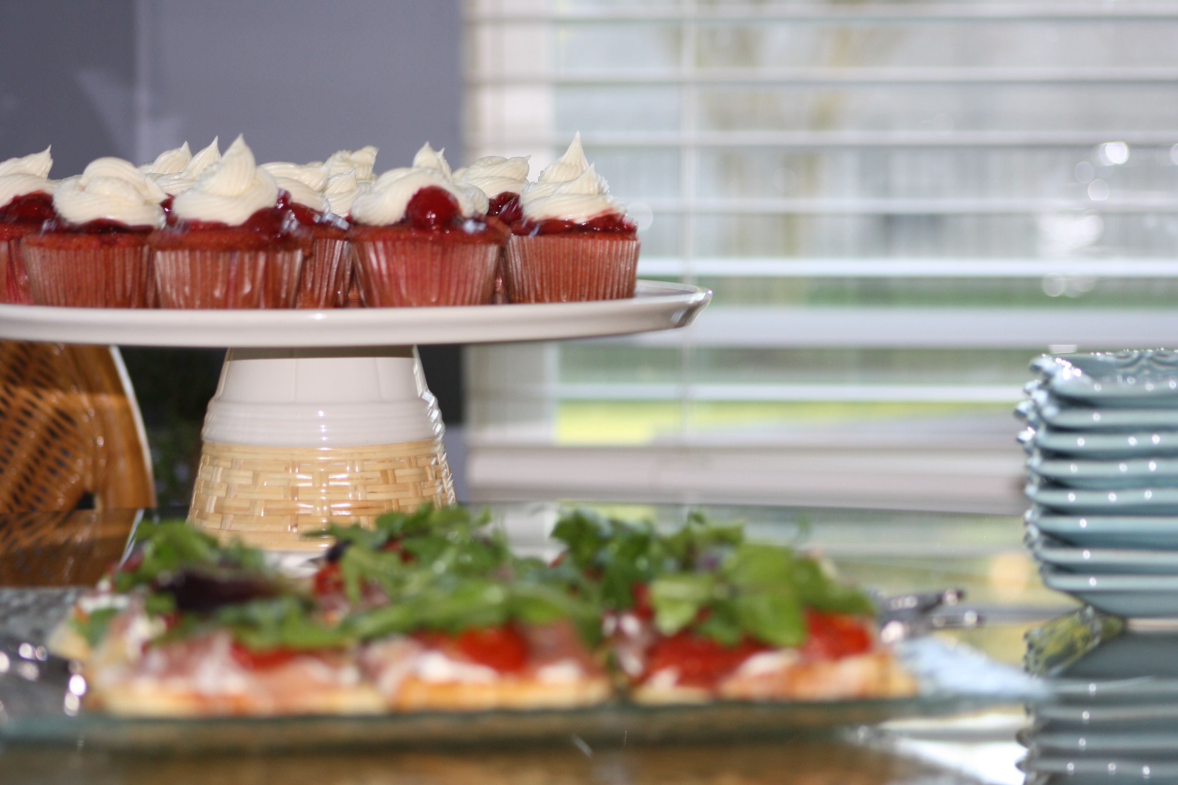 raspberry red velvet cupcakes and proscuitto and roasted tomato crostini