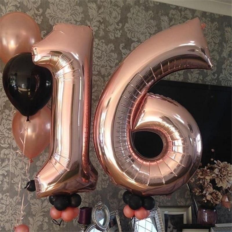 Colored Numbers Foil Balloons - Rose Gold Silver Blue - Birthdays Kids Celebration - 16 Pieces - 32 Inches