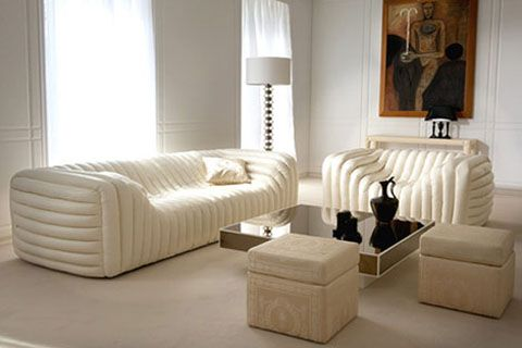 Flexsteel Sofa by Versace Bubble Sofa armchair white leather