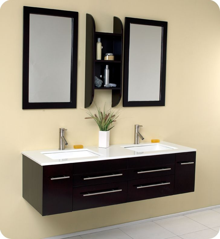 Fresca Bellezza Espresso Modern Double Sink Bathroom Vanity Mirrors Faucets