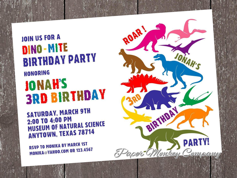 Custom Printed Dinosaur Birthday Invitations - envelopes included ...