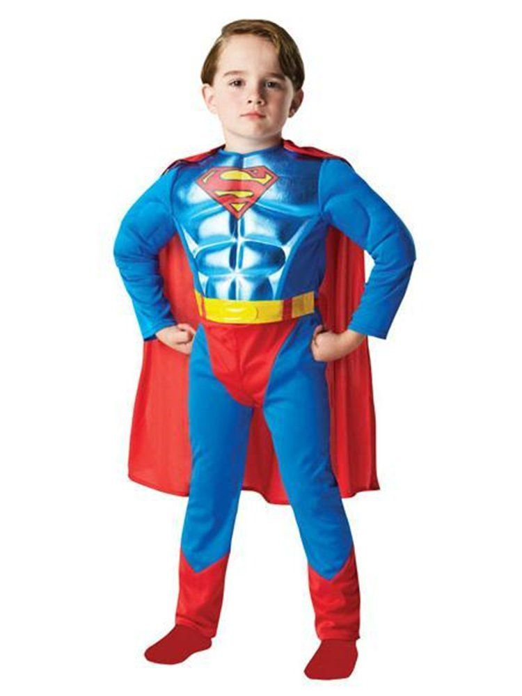 NEW Muscle Superman Childrens Fancy Dress Costume for Boys