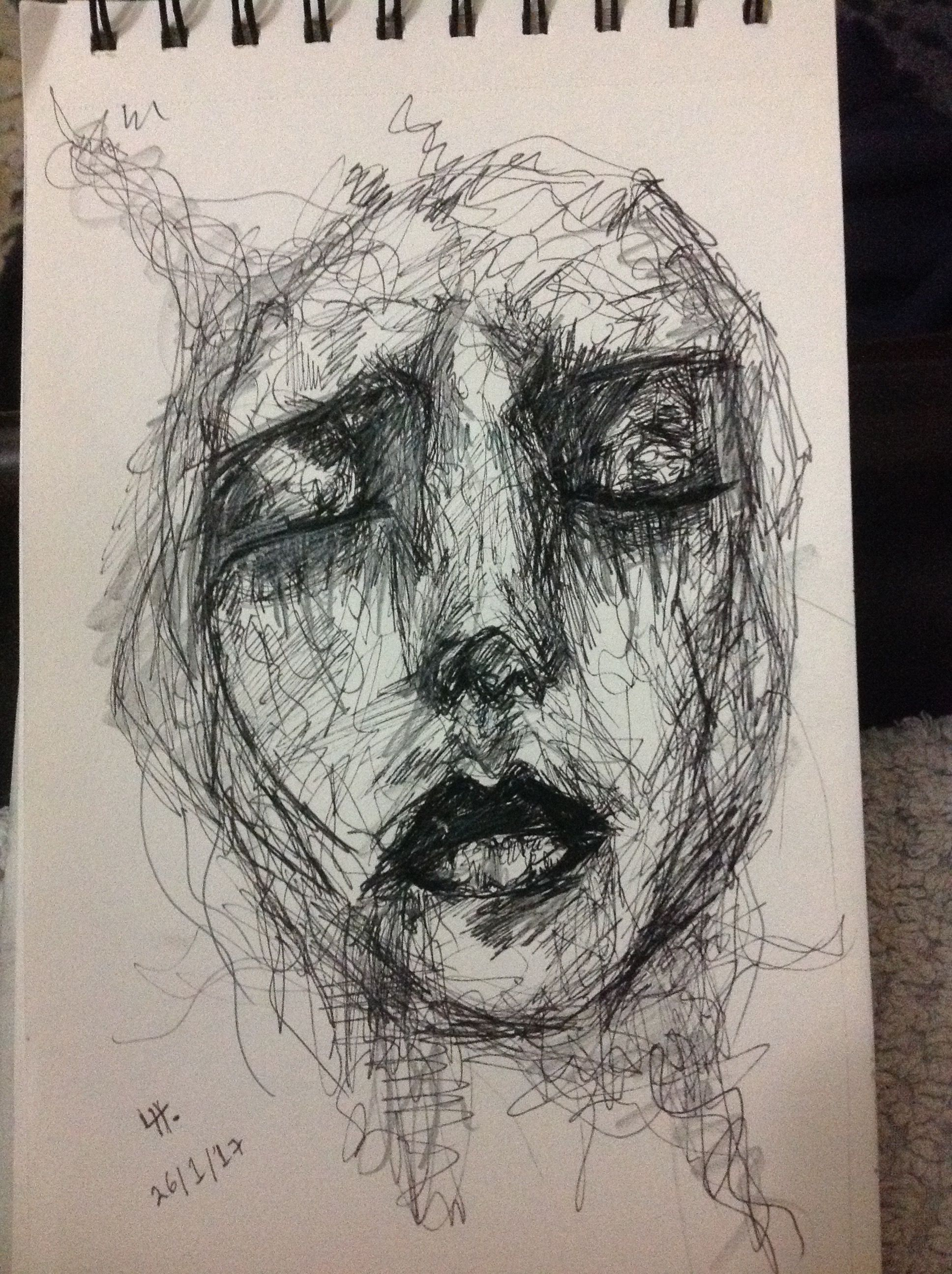 Line Drawing Of Sad Face : Depression sadness sketch pen depressed sadface help my