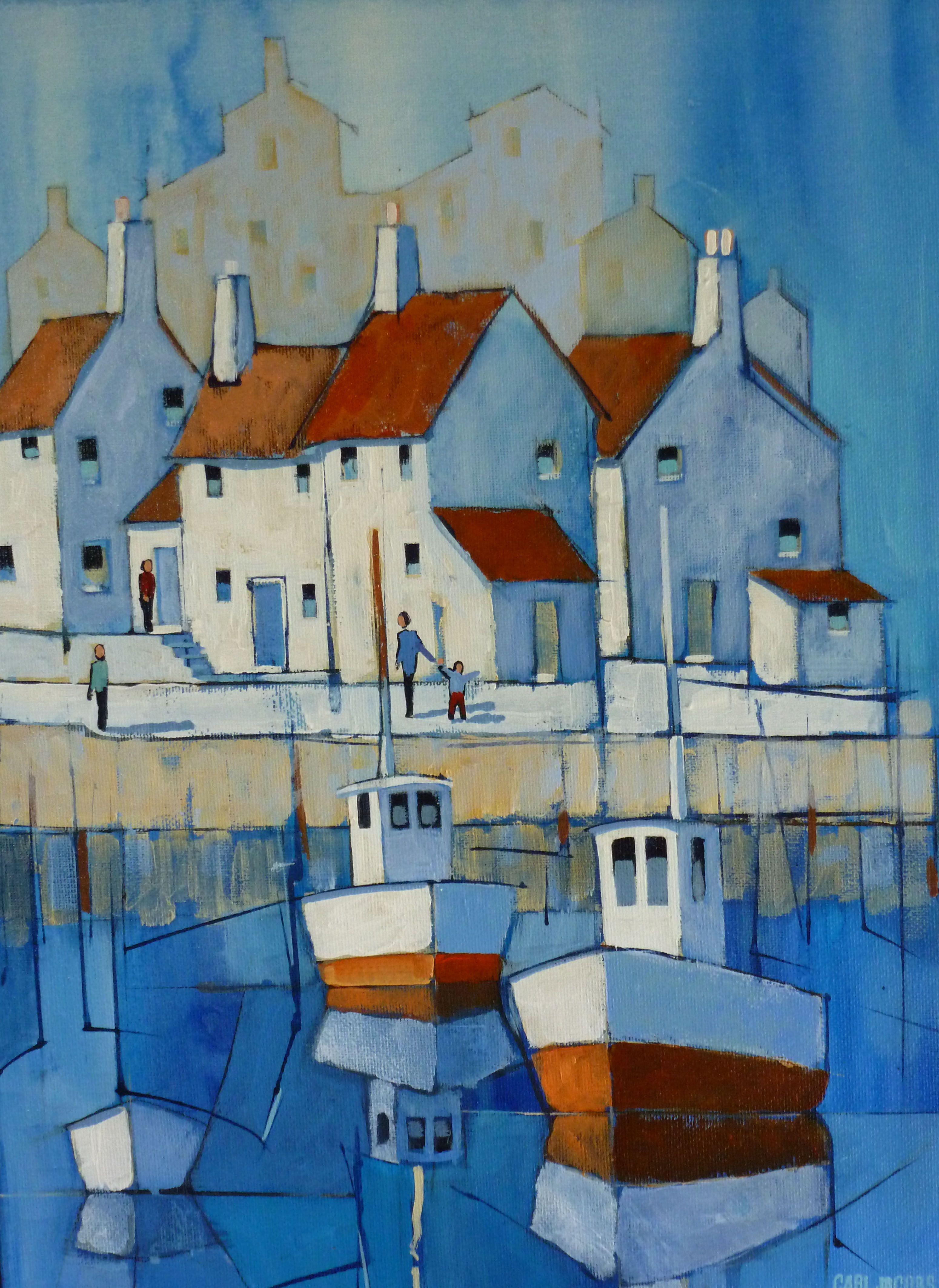 Blue Harbour Scene 02 Carl Jacobs Masa Uk Colorful Art Art